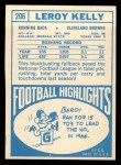 1968 Topps #206   Leroy Kelly Back Thumbnail