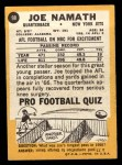 1967 Topps #98   Joe Namath Back Thumbnail
