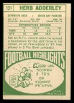 1968 Topps #131  Herb Adderley  Back Thumbnail