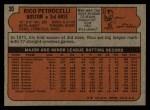 1972 Topps #30   Rico Petrocelli Back Thumbnail