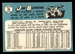 1965 Topps #20   Jim Bunning Back Thumbnail