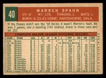 1959 Topps #40 COR  Warren Spahn Back Thumbnail