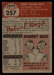 1953 Topps #257  Bob Boyd  Back Thumbnail