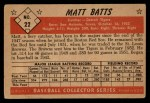 1953 Bowman Black and White #22   Matt Batts Back Thumbnail