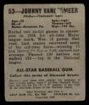 1949 Leaf #53  Johnny Vander Meer  Back Thumbnail