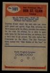1955 Bowman #101   Bob St. Clair Back Thumbnail