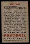 1951 Bowman #6   Tom Fears Back Thumbnail