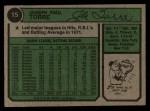 1974 Topps #15   Joe Torre Back Thumbnail