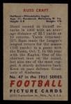 1951 Bowman #47   Russ Craft Back Thumbnail