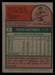 1975 Topps #21   Rollie Fingers Back Thumbnail