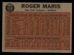 1962 Topps #313  Maris Blasts 61st  -  Roger Maris Back Thumbnail