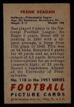 1951 Bowman #118  Frank Reagan  Back Thumbnail