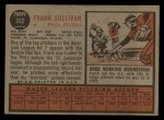 1962 Topps #352   Frank Sullivan Back Thumbnail