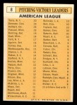 1963 Topps #8  1962 AL Pitching Leaders  -  Jim Bunning / Camilo Pascual / Dick Donovan / Ray Herbert / Ralph Terry Back Thumbnail