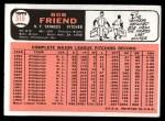1966 Topps #519  Bob Friend  Back Thumbnail