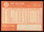 1964 Topps #310   Jim Gilliam Back Thumbnail