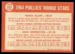1964 Topps #243  Phillies Rookies  -  Rich Allen / John Herrnstein Back Thumbnail