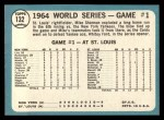 1965 #132   -  Mike Shannon / Whitey Ford / Elston Howard 1964 World Series - Game #1 - Cards Take Opener Back Thumbnail