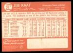 1964 Topps #567   Jim Kaat Back Thumbnail