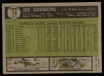 1961 Topps #79   Joe Ginsberg Back Thumbnail
