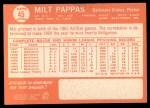 1964 Topps #45   Milt Pappas Back Thumbnail