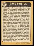 1968 Topps #148   Dave Bristol Back Thumbnail