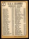 1968 Topps #8  AL ERA Leaders  -  Joe Horlen / Gary Peters / Sonny Siebert Back Thumbnail