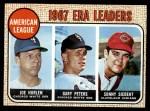 1968 Topps #8  AL ERA Leaders  -  Joe Horlen / Gary Peters / Sonny Siebert Front Thumbnail