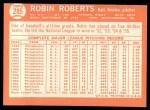 1964 Topps #285  Robin Roberts  Back Thumbnail