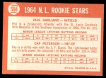 1964 Topps #568  NL Rookies  -  Phil Gagliano / Cap Peterson Back Thumbnail