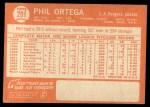 1964 Topps #291   Phil Ortega Back Thumbnail