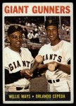 1964 Topps #306  Giants Gunners  -  Willie Mays / Orlando Cepeda Front Thumbnail