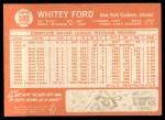 1964 Topps #380   Whitey Ford Back Thumbnail