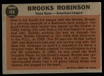 1962 Topps #468  All-Star  -  Brooks Robinson Back Thumbnail