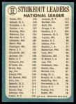 1965 Topps #12   -  Don Drysdale / Bob Gibson / Bob Veale NL Strikeout Leaders Back Thumbnail