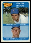 1965 Topps #8  NL ERA Leaders  -  Don Drysdale / Sandy Koufax Front Thumbnail
