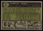 1961 Topps #561   Charlie James Back Thumbnail