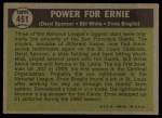 1961 Topps #451  Power for Ernie  -  Daryl Spencer / Bill White / Ernie Broglio Back Thumbnail