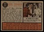 1962 Topps #252  Earl Francis  Back Thumbnail
