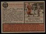 1962 Topps #175 A  Frank Howard Back Thumbnail