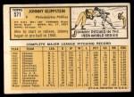 1963 Topps #571   Johnny Klippstein Back Thumbnail