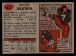 1957 Topps #31  George Blanda  Back Thumbnail