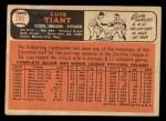 1966 Topps #285  Luis Tiant  Back Thumbnail