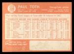 1964 Topps #309 COR  Paul Toth Back Thumbnail