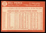 1964 Topps #222  Bill Pierce  Back Thumbnail