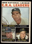 1964 Topps #1  NL ERA Leaders  -  Sandy Koufax / Bob Friend / Dick Ellsworth Front Thumbnail