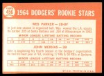 1964 Topps #456  Dodgers Rookies  -  Wes Parker / John Werhas Back Thumbnail