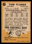 1967 Topps #16  Tom Flores  Back Thumbnail