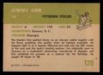 1961 Fleer #120  Jimmy Orr  Back Thumbnail