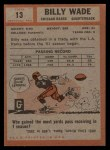 1962 Topps #13   Bill Wade Back Thumbnail